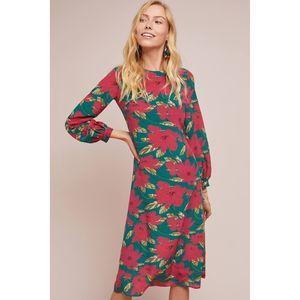 New Anthropologie Poinsettia Silk Midi Dress